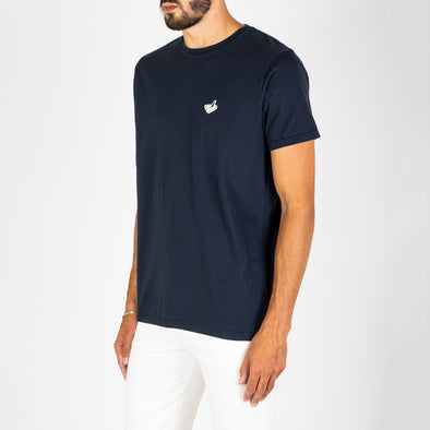 Navy blue t-shirt with a small aeroplane print on the chest.