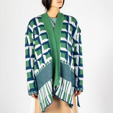 Long sleeved jacquard kimono with cube pattern in green, blue and white.