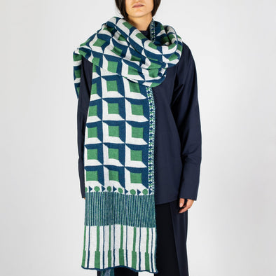 Jacquard long scarf with cube pattern in green, blue and white.
