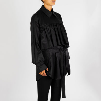 Black oversized detailed shirt.