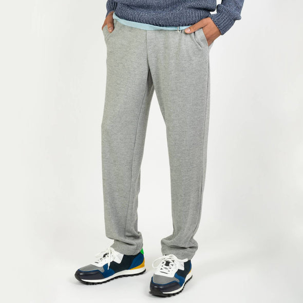 Comfortable grey straight tracksuit trousers.