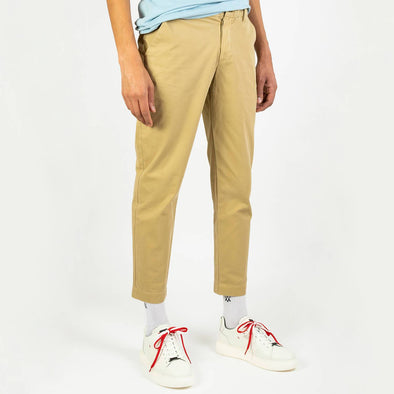 100% cotton khaki chino trousers.