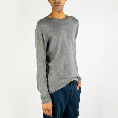 Dark grey long-sleeved round neck jumper.