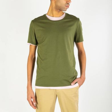 Green short-sleeved round neck t-shirt.