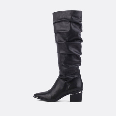 Black leather heeled tall boots with silver detail.