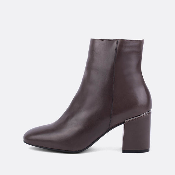 Dark brown leather heeled ankle boots.