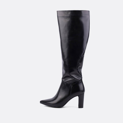 Black leather heeled tall boots.