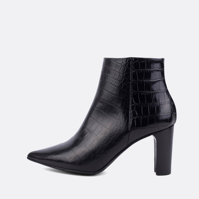 Heeled ankle boots in black croc embossed leather.
