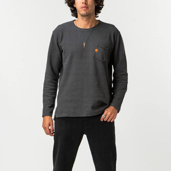 Grey urban pullover with gradient colored background.