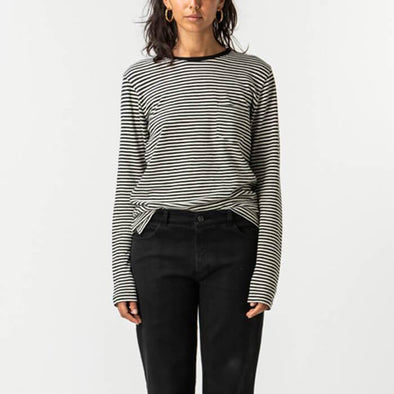 Round neck longsleeve with black and white horizontal stripes.
