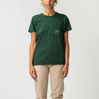 Green round neck t-shirt with small pocket on the front and +351 logo print.