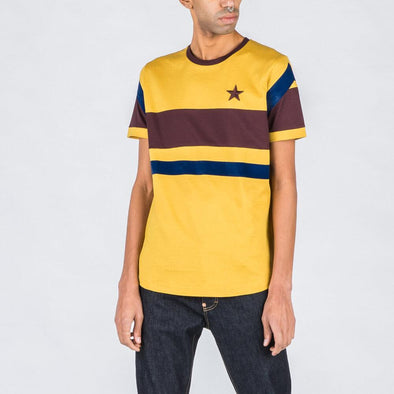 Yellow t-shirt with navy blue and bordeaux details.