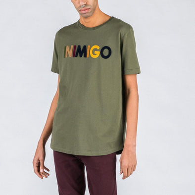 Olive green t-shirt with multicolored brand stamp.