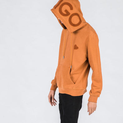 Caramel hoodie with heart stamp.