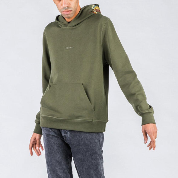 Olive green hoodie with brand stamp and dragon hood.