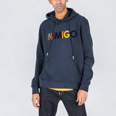 Navy blue hoodie with multicolored brand stamp.