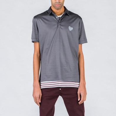Steel grey polo with heart stamp.