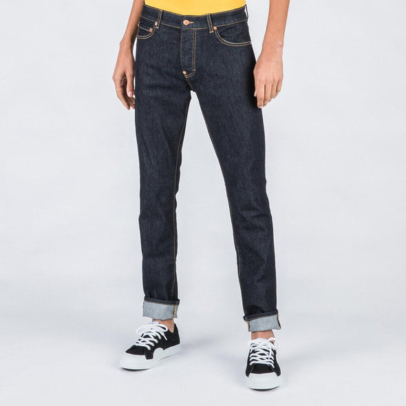 Regular fit blue jeans.