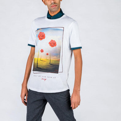 White t-shirt with Dali inspired print.