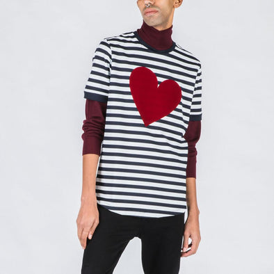 Black and white striped tee with red heart stamp.