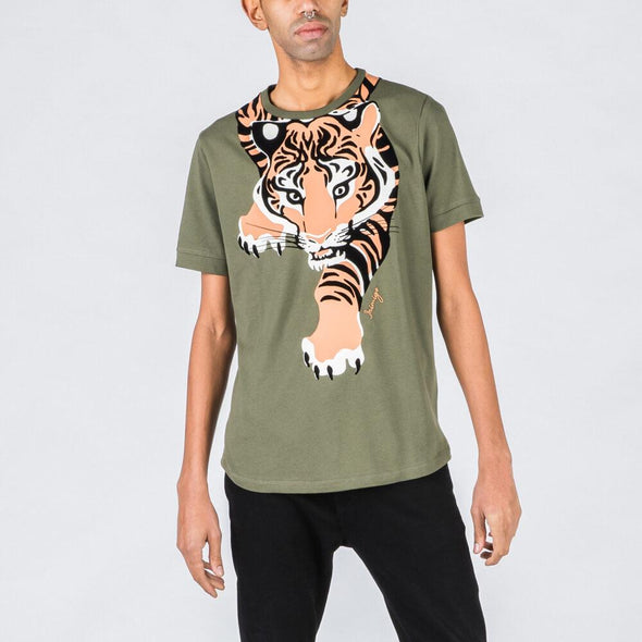 Olive green t-shirt with tiger feature.