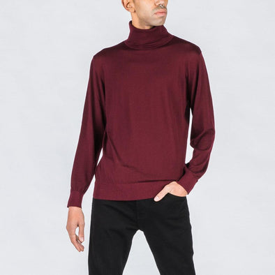 Burgundy turtleneck.