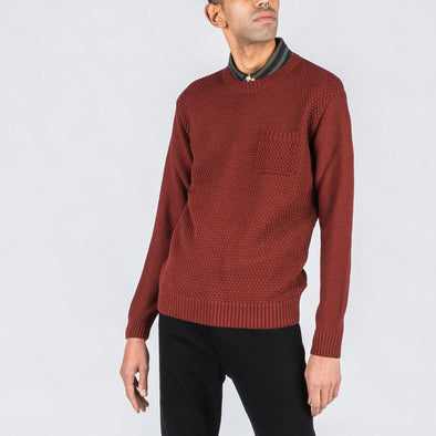 Bordeaux knit with chest pocket.