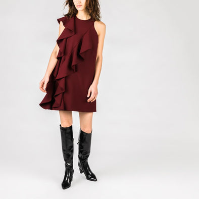 Bordeaux one sleeve dress with front and back ruffles.