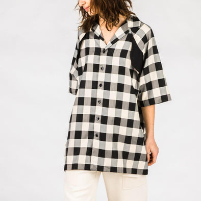 Black and white pyjama-style shirt.