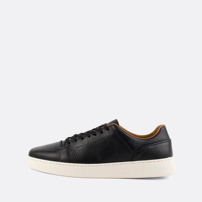 Black leather low-top sneakers.