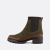 Khaki and brown chelsea boots with rubber outsole.