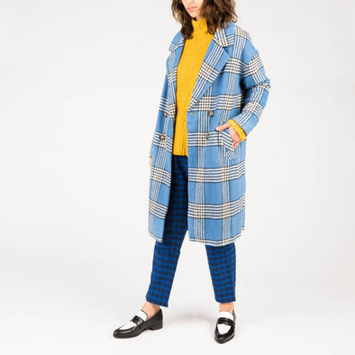 Long blue plaid coat with long sleeves and two side pockets.