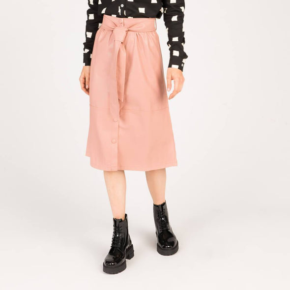 Baby pink synthetic leather midi skirt.