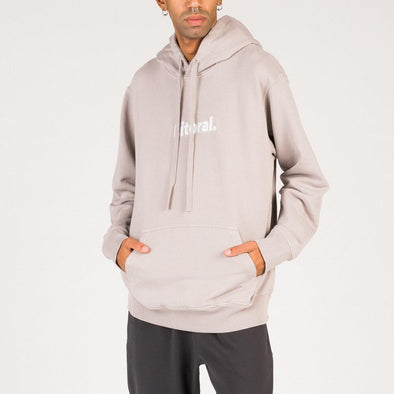 Minimalist grey hoodie with logo embroidery.
