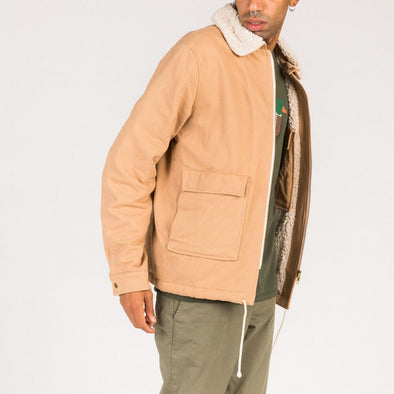 Beige jacket with patch pockets.