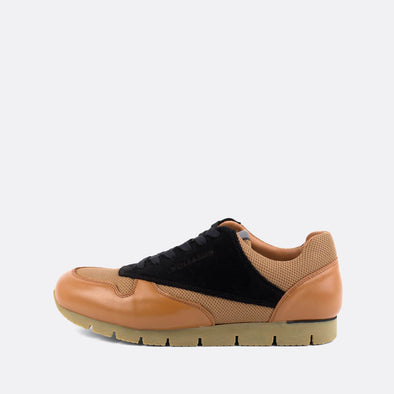 Classic-style runners in paneled black suede and camel leather and mesh.