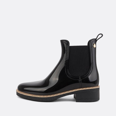100% animal friendly black romantic rain boots.