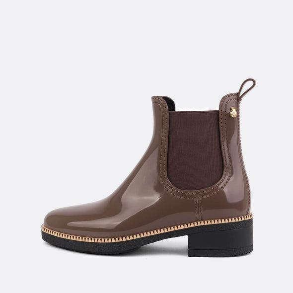 100% animal friendly brown romantic rain boots.