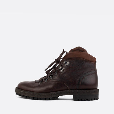Dark brown leather hiker boots.
