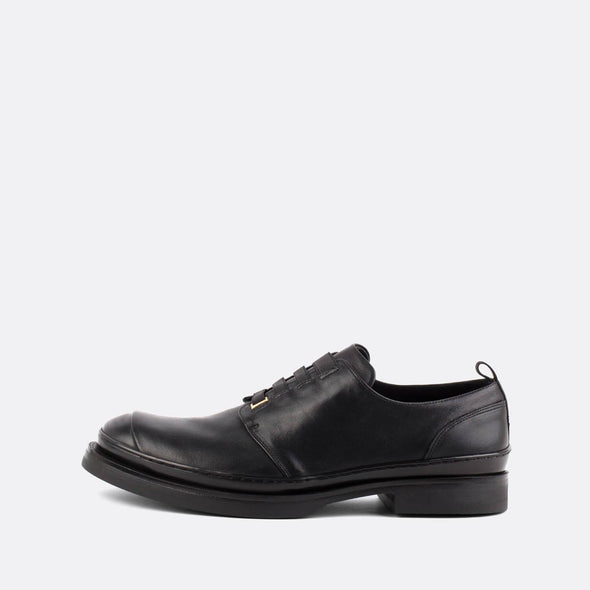 Black leather derby shoes with silver detailing.