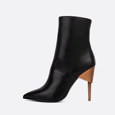 Black leather heeled ankle boots with copper heel.