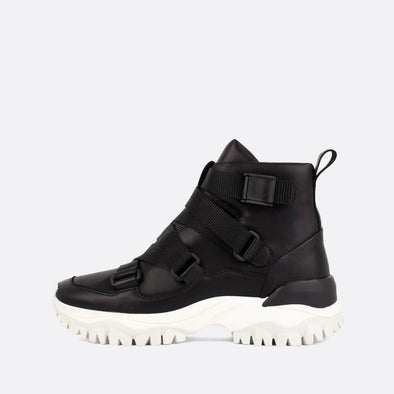 Black leather high-top sneakers.