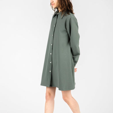 Loose fit button up shirt dress in dark green.