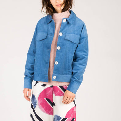 Electric blue corduroy boxy jacket with balloon sleeves.