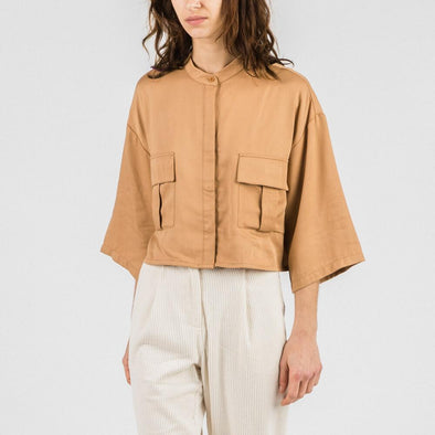 Soft tencel camel crop with two large chest pockets.
