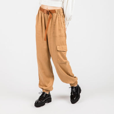 Soft camel utility pants with side pockets and elasticated waistband.