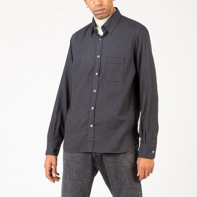 Timeless grey and navy blue shirt.
