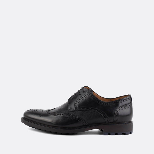 Classic black leather derby shoes with broguing details.