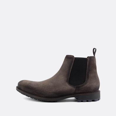 Classic grey suede chelsea boots.