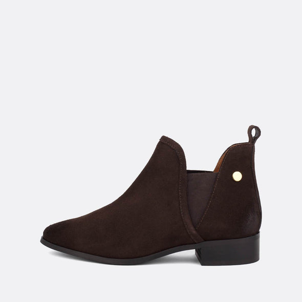 Dark brown suede flat ankle boots.